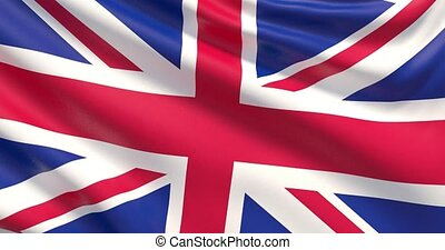 Flag of United Kingdom. Waved highly detailed 4K fabric texture.