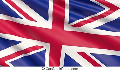 Flag of United Kingdom. Waved highly detailed fabric texture.