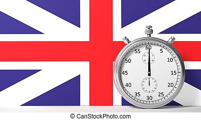 Flag of United Kingdom with chronometer