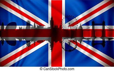 Flag Of United Kingdom With London Skyline