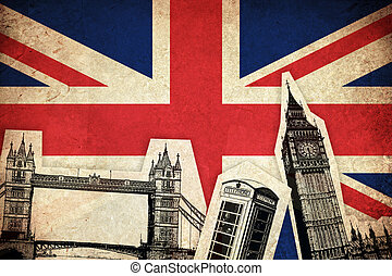 Flag of United Kingdom with monuments