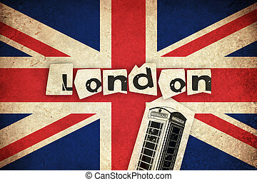 Flag of United Kingdom with phone box
