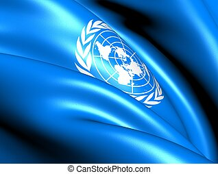 Flag of United Nations. Close Up.