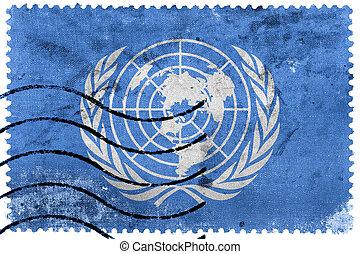 Flag of United Nations, old postage stamp