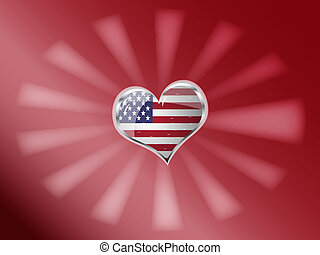 flag of united state of america in heart shape