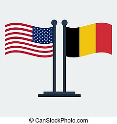 Flag Of United States And Belgium .Flag Stand On White Background. Vector Design
