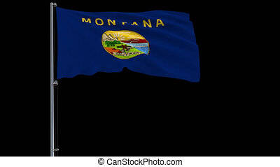 Flag of United States Montana, 4k prores 4444 footage with alpha