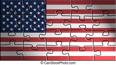 Flag of United States of America, national country symbol...