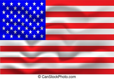 Flag of United States of America on wavy fabric. Vector illustration.