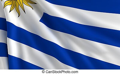 Flag of Uruguay - A flag of Uruguay in the wind