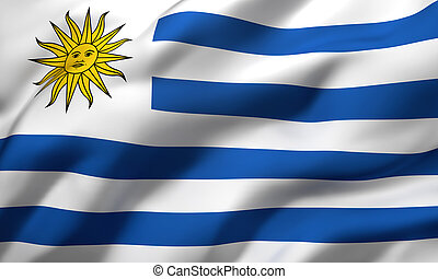 Flag of Uruguay blowing in the wind