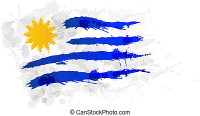 Flag of  Uruguay made of colorful splashes