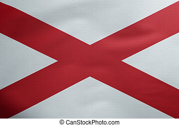 complete flag of us state of alabama covers whole frame, waved, crunched and very natural looking. It is perfect for background