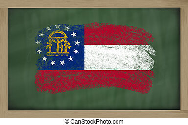 flag of us state of georgia on blackboard painted with chalk