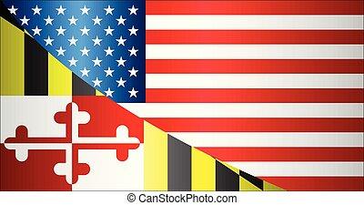 Flag of USA and Maryland state