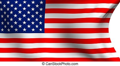 Flag of USA against white background. Close up.