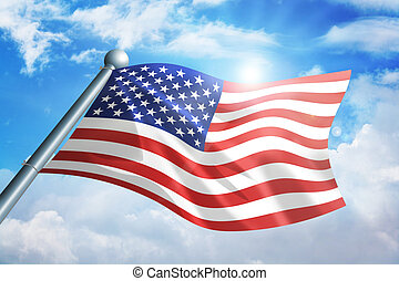 Flag of USA - Illustration of an American flag waving ...