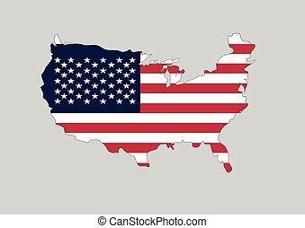 Flag of USA in the shape of the country. Vector graphic of American flag shaped to form the borders of USA nation in the colors of national flag.