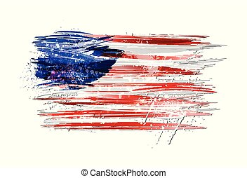Flag of USA made with colorful splashes. Paint smears, grunge texture.