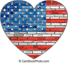 Flag of USA on a brick wall in heart shape