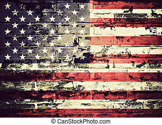 flag of USA painted on a wall