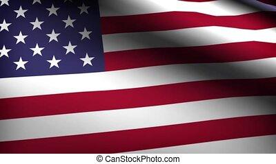 Flag of usa slow waving