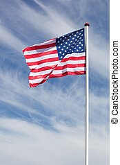 Flag of USA waving in the sky