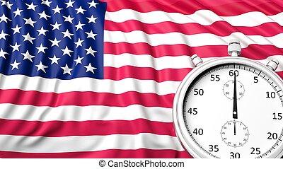 Flag of USA with chronometer
