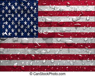 flag of USA with rain drops