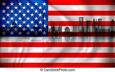 Flag of USA with Washington skyline