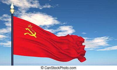 Flag Of USSR on the background of the sky and flying clouds.