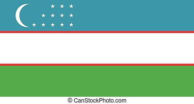 Flag of Uzbekistan correct proportions and colors