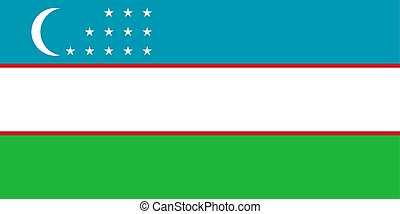 Flag of Uzbekistan in official colors and proportions, vector image.