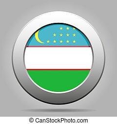 Flag of Uzbekistan. Metal gray round button.
