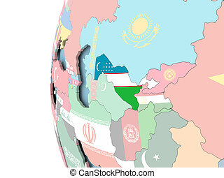 Flag of Uzbekistan on political globe