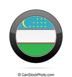 Flag of Uzbekistan. Shiny black round button.