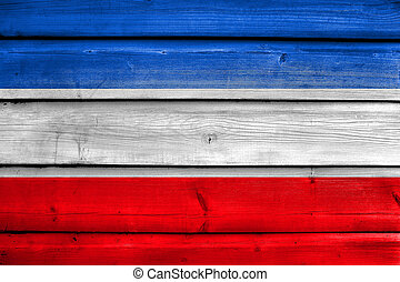 Flag of Valledupar, Colombia, painted on old wood plank background