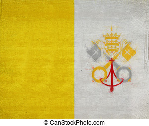 Flag of Vatican City Grunge