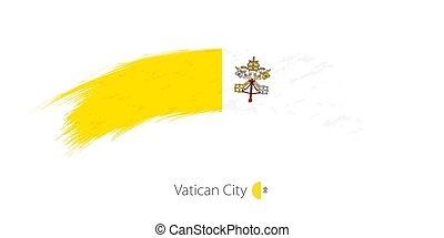Flag of Vatican City in rounded grunge brush stroke.