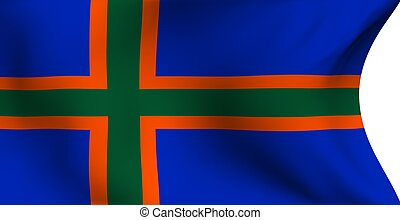 Flag of Vendsyssel against white background. Close up.