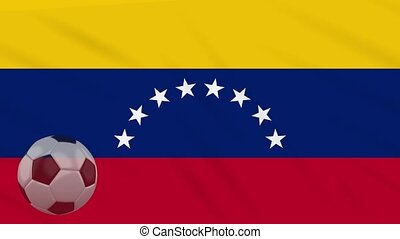 Flag of Venezuela and soccer ball rotates against backdrop of waving cloth