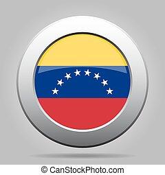 Flag of Venezuela. Shiny metal gray round button.