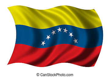 Flag of Venezuela waving in the wind - clipping path ...