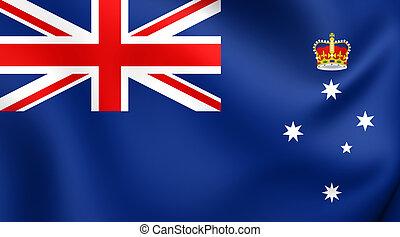 Flag of Victoria, Australia. Close Up.