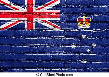 Flag of Victoria State, Australia, painted on brick wall