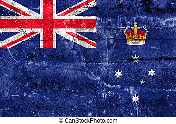 Flag of Victoria State, Australia, painted on dirty wall