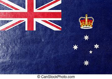Flag of Victoria State, Australia, painted on leather ...