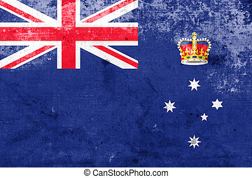 Flag of Victoria State, Australia, with a vintage and old ...