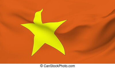 Flag of Vietnam - Flag of the Vietnam waving in the wind....