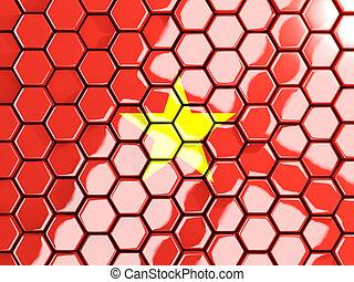 Flag of vietnam, hexagon mosaic background